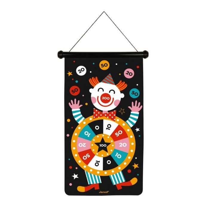 Janod Double-sided Magnetic Darts Game, Circus theme